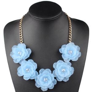 Claire Jin Frischer Kristall Short Mode Frauen Schmuck-Halskette Fünf Blume Halskette Volkspartei Zubehör