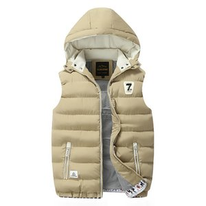 Men's Vest Winter Down Vest Casual Waistcoat Men's Sleeveless Jacket Plus Size 5XL Warm Men's Vest Overcoats Hat Detachable New 201009