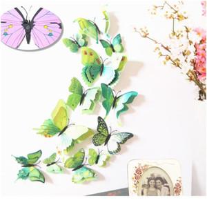 12 unids Multicolor Doble Layer Alas 3D Mariposa Etiqueta Etiqueta de Pared Imán PVC Mariposas Partido Dormitorio Dormitorio Decoración BBYFNP