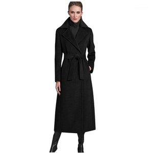 Women's Wool & Blends Savabien Winter Women Coat 2021 Vintage Elegant Long Black Lapel Belted Korean Blend Ladies Trench Outerwear1