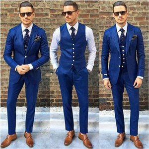 Fashionable Mens Suits For Wedding Prom Dinner Party (Jacket+Pants+Vest) Classic Groom Tuxedos Groomsmen Best Man Suit Blazers