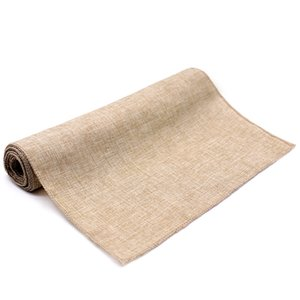 Hot Vintage Natural Burlap Imitated Jute Linen Runner Christmas Wedding Gray  Khaki Runners Restaurant Table Decor