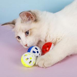 Pet Creux Pet Plastic Plastic Coloré Ball Jouet avec petite cloche adorable vocale vocale en plastique Ballon interactif Tinkle Jouets Jouets DHF4006