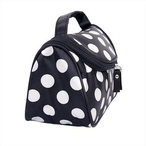 Hot Fashion Black Zipper Cosmetic Bag Toiletry Bag Make Up Hand Case With Dot Patterns