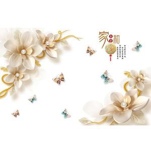 Çin Tarzı Aile Uyum Zengin Çiçek Duvar Sticker Oturma Odası Kanepe / TV Arka Plan Dekorasyon Çıkartmaları Duvar Sanatı Şiir Etiketler 201202