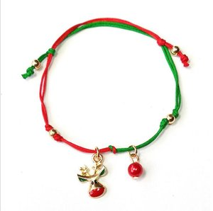 Christmas String Bracelets with Santa Claus Deer Snow Party Trees Adjustable Wrap Bracelets Christmas ornament new year cheap gift