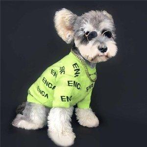 Yeni Evcil Yün Kazak Moda Mektup Baskılı Pet Örgü Tişörtü Trendy Elastik Schnauzer Bichon Kostüm Giyim