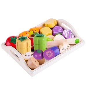 Manyetik Ahşap Meyve Ve Sebze Kombinasyonu Kesme Mutfak Oyuncak Seti Çocuk Oyna Pretend Simulation Playset Çocuklar Eğlenceli LJ201211
