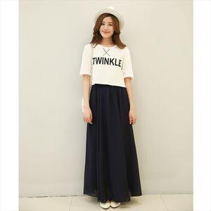 Chiffon Cool Skirt Womens Elastic Waist Ladies Long Solid Color Elegant Skirt Spring And Summer Autumn Pleated Falda Sk71