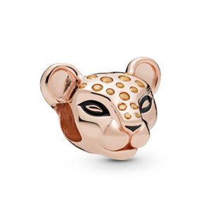 Original 925 Sterling Silver Beads Rose Gold Lioness With Honey Coloured Stones Charm Fit Pandora Bracelet & Necklace Jewelryps2437