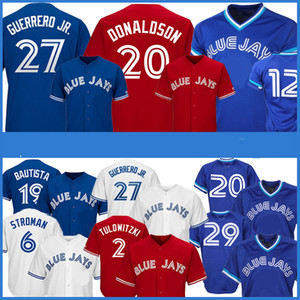 27 Vladimir Guerrero Jr. Maglie da baseball 19 Jose Bautista 29 Joe Carter 11 Kevin Pillar 12 Roberto Alomar Jersey