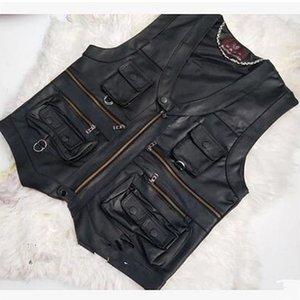 2020 جديد سترة جلدية جديدة الذكور سليم التجارية الذكور سترة جلدية جلد الغنم جلد الرجال سترة صدرية مع العديد من جيوب LJ201221