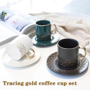 Творческий рисунок золотой чашки кофе и блюдце набор Nordic стиль керамические чашки перемешивать Европейский небольшой роскошный послеобеденный