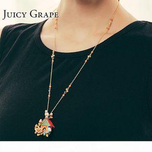 Juicy Grape French Style Enamel Glaze Gilded Long Necklace Blue Tits Love Birds Sweater Chain Women Accessories Y19050901