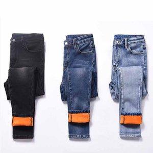 Women High Waist Increase Down Jeans Winter Warm Jeans Bound Feet Thickening Velvet Elastic Trousers Women Pants Plus Size