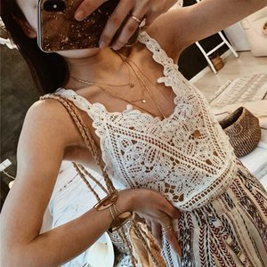 Boho Inspired Beach Crochet Knitted Short Top Beachwear Summer Swimsuit Cover Up Sleeveless Blouse Cami Tank Cropped Top Women 2021