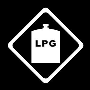 12,7 cm12.7cm Warnmarke LPG Grafik Auto Aufkleber Schwarz / Silber Vinyl Dekoration S9-2374