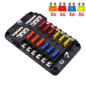 6 way 12 Way Blade Fuse Block with ATC ATO Fuse Box Holder LED Warning Indicator Damp-Proof Cover for Car Boat Marine RV Truck