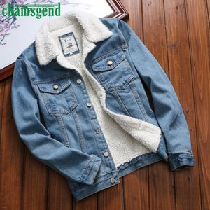 CHAMSGEND thick Warm Denim Jacket With Fur Women Casual Upset Jackets Vintage Long Sleeve Loose Jeans Outwear female short Coat 201021