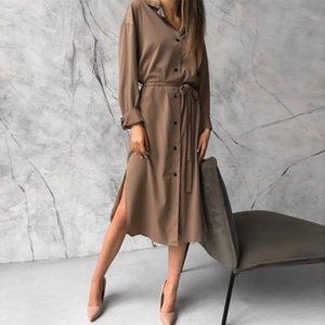 Dabourfeel Moda Saten Günlük Cepler Düğme Aşağı Elbise Kayışlı Kadın Yaka Uzun Kollu Midi Elbiseler 2020 Sonbahar A1107 Turn Down