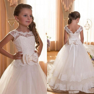 First Communion Dresses For Girls Scoop Backless Appliques Flower Girls Dress Bows Tun Paglle Ball Goweant Dresses For Little Girls