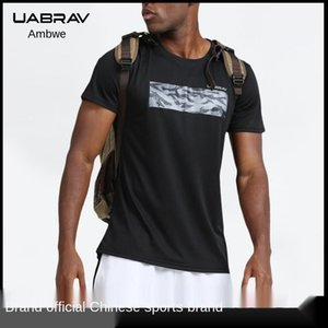 Uabrav New round Neckline T-shirt Male Short-Sleeved Quick Drying Clothes Outdoor Training Basketball Wear Casual Athletic Men