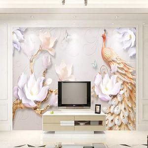 Новые пользовательские 3D Большие росписи Обои с тиснением Современный минималистский минималистский павлин Детская комната Телевизор Фон гостиная спальня