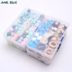 Mhs.Sun Hot Beads Conjunto de Bebê Beething Beads Comida Grau Teether Kits Acessórios DIY Chavão Jóias Chupeta Chain T200730