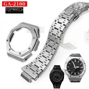 Set GA2100 Second Generation GA2110 Watch Set Metal Watchband Bezel 316L Stainless Steel GA-2100 GA-2110 2rd Watch Strap Band LJ201124