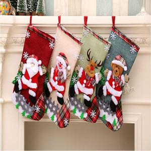 50pcs Christmas Large Stockings Snowman Santa Claus Beer Gift Bags Xmas Socks Hanging Candy Ornaments Christmas Decor