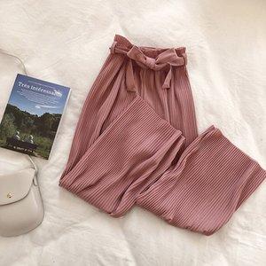 BYGOUBY primavera-estate casuale allentata Donne caviglia pantalone femminile Slim Harem pizzo pantalone fino costola pantaloni chic 1017