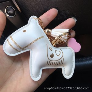 PU leather love pony gift bag accessories pendant car key chain