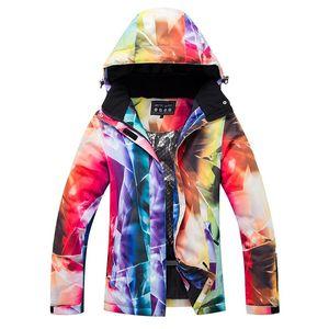 Espesso quente esqui de esqui água windproof e calças de jaqueta de snowboard definir trajes de neve ao ar livre feminino