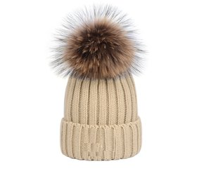 Gorro Bonnet Inverno malha real Fur Hat Mulheres Thicken Gorros com 15 centímetros real Raccoon Fur Pompoms Quente menina Caps Snapback pompon Beanie Chapéus