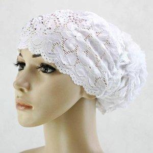 Этническая одежда кружева мусульманские внутренние женские Hijab капота капота Hijab исламская поднятая белая шляпа алмазная голова шарф черный