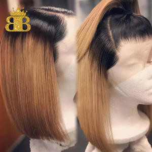 180% Honey Blonde 13x4 Ombre Lace Front Human Hair Wigs T1B 27 Brazilian Remy Hair Short Bob Wig Black Root Bleached Knots BIB