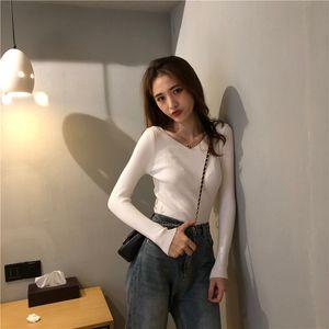 Hirigin autumn winter collar V knit shirt long sleeve heat long sleeve shirt bottom solid shirt tide back sweater for women