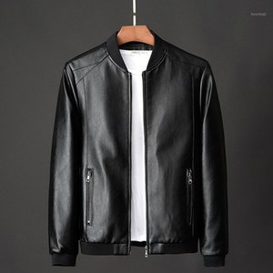 Veste en cuir PU Hommes Automne 2020 en faux cuir Manteaux Couleur Solid Mens Vêtements Slim Fit Fit Casual Sac à décontracté pour les vêtements masculins1