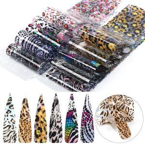 10pc Leopard Snake nomi pelle Trasferisca stagnola Sticker Set Animal Mix design scorrevole Strumenti Nail Art decalcomanie di DIY della decorazione LA2001-1
