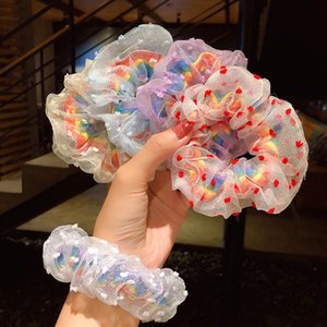 Fashion Girl Rainbow Hair Ties Rubber Bands Ponytail Holder Scrunchie Tie Headwear for Women Accessories Lace Elastic HeadBand