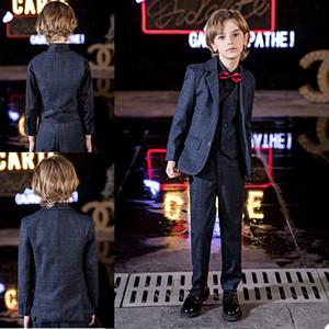 Glen Plaid Little Boy Formal Suits Dinner Tuxedos for Wedding Party Boy Groomsmen Kids Children Prom Suit Formal Wear (Jacket+Pants+Vest)