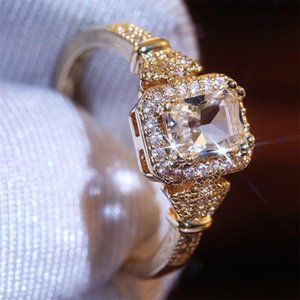 VAGZEB Silver Color Brand Female Square Zircon Ring Fashion Gold Color Jewelry Promise Engagement Rings For Women