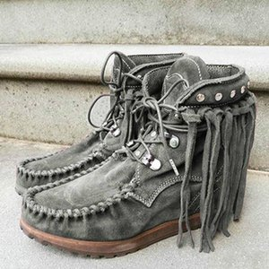 Kadınlar Bilek Boots Büyük Boyut Flats Ayakkabı Patik Gladyatör Vintage Sahte Süet Yuvarlak Burun Lace Up Ayakkabı Püsküller Botaş Mujer
