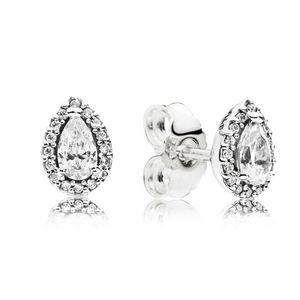 CZ Diamond Stud Pendientes para mujeres Joyas de lujo con caja para PANDORA 925 STERLING SLINLING DROP DROP ARRADOR Set 57 m2