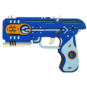 Puzzle en bois 3D Bandes en caoutchouc Guns Coupe laser DIY Toas Assembly Jouets pour adolescents Funny Outdoors Game Shooter Cadeaux