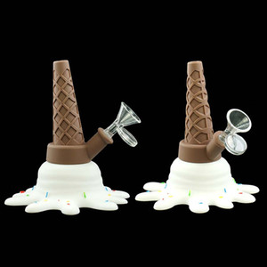 Free shipping!!ice cream water pipe silicone bong oil rig bong smoking pipe Dab Rig with glass bowl 598278102