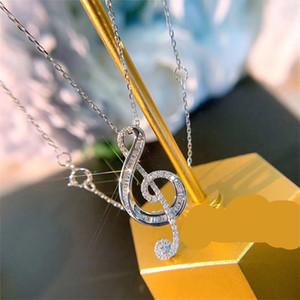 Marka Yeni Lüks Takı 925 Ayar Gümüş Yüksek Kalite Tam Beyaz Topaz CZ Elmas Aşk Not Kolye Kadın Düğün Klavikula 93 O2