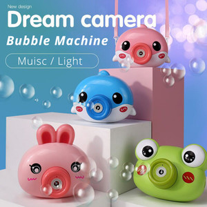 Cartoon Camera Bubble Machine Frosch Blase Pistole Schlag Automatische Seife Für Kinder Elektrische Musik Light Sommer Outdoor Kinder Spielzeug Q1118