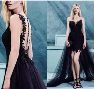 Sexy Black Prom Dresses Lace Applique Sweetheart Neck Illusion Back Detachable Train Party Gowns Custom Made Evening Dress Vestido De Festa