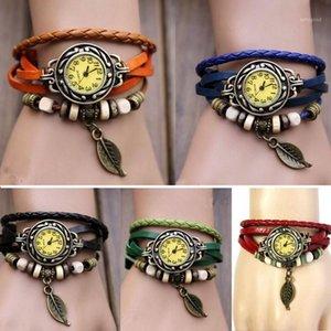 Montres Montres Montres Womens Bracelet Bracelet Weave Wrap Wrap Vintage Quartz Robe Montre En Cuir Leaf Leaf Perles Cadeau Horloge1